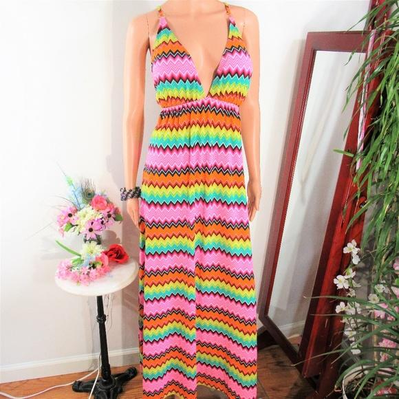 7a29f0cceae17 COOGI Dresses   Rainbow Zigzag Open Tie Back Maxi Dress   Poshmark